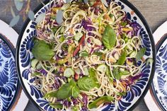 Grab the recipe for this Sesame Noodle Salad - it's half pasta salad, half asian slaw, and it doubles as a side dish or leftovers!