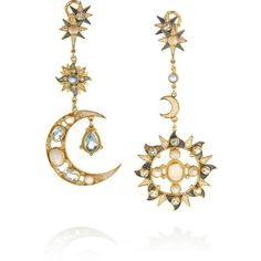Percossi Papi Gold-plated, topaz, moonstone and sapphire earrings ($1,450) ❤ liked on Polyvore featuring jewelry, earrings, accessories, gold, bijoux, moonstone jewelry, sapphire jewelry, blue earrings, sapphire earrings and blue sapphire earrings