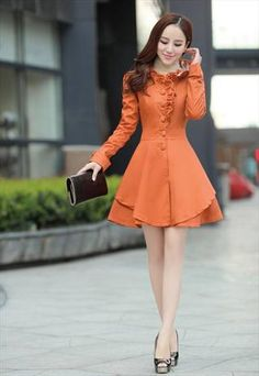 5 colors orange trench coat dress falbala elegant  sale gwh120