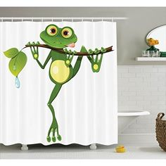 Animal Decor Shower Curtain Set by Ambesonne, Little Frog on Branch of the Tree in Rainforest Nature Jungle Life Artsy Earth, Bathroom Accessories, 75 Inches Long, Green White Yellow Funny Shower Curtains, Shower Curtain Sizes, Bathroom Decor Sets, Bathroom Accessories, Frosch Illustration, Frog Coloring Pages, Frog House, Jungle Life, Funny Frogs