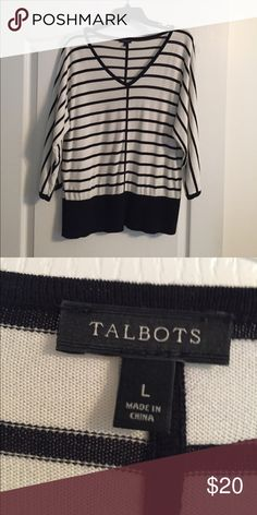 Talbots Stripe Knit Top Black & white stripe knit top with dolman  sleeves.  Black border at bottom.  Cotton/rayon blend.  Size large. Talbots Tops Tees - Long Sleeve
