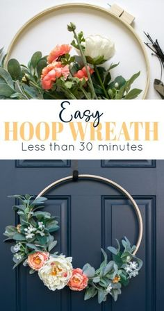 Make This Fun Diy Wreath From Scratch In Less Than 30 Minutes Modern Fall Wreath Diy Spring Wreath Gold Hoop Wreath Diy Spring Wreath, Fall Wreaths, Spring Crafts, Floral Wreaths, Burlap Wreaths, Spring Wreaths For Front Door Diy, Ribbon Wreaths, Spring Projects, Art Projects