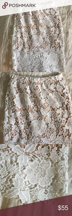 NWOT lace and nude skirt Never been worn white lace skirt with tan lining underneath. Stretchy waistband.So cute! Purchased from local boutique Skirts