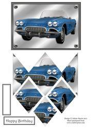 Blue Convertible - Diamond Stacker Card