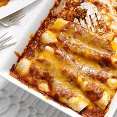 Garlic Beef Enchiladas from Taste of Home...out of 117 reviews, it received 97 five-star ratings & 12 gave it 4-stars!  Filling AND sauce is homemade but easy.