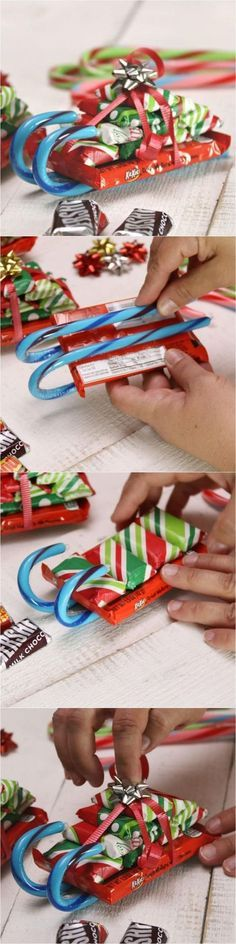 Easy Candy Cane Sleighs with Candy Bars. These candy cane sleighs are so festive and super easy to make. Easy and Fun DIY Christmas crafts for You and Your Kids to Have Fun. (easy crafts for kids to make) How to Make Candy Cane Sleighs with Candy Bars for Christmas Goodies, Christmas Candy, Homemade Christmas, Christmas Treats, Simple Christmas, Christmas Presents, Christmas Holidays, Christmas Sleighs, Christmas Decorations