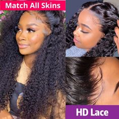 HD Undetectable 13x4 Lace Front Kinky Curly Wig Natural Black - 150 / 18