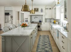 Kitchen Lighting Modern Farmhouse Kitchen Painted in Sherwin Williams SW 7006 Extra White; one of the Whitest Paint Colors You Can Find - Farmhouse Kitchen Cabinets, Kitchen Cabinet Colors, Modern Farmhouse Kitchens, Farmhouse Decor, Gold Kitchen, Kitchen Modern, Functional Kitchen, Smart Kitchen, Kitchen White