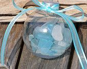 SEA GLASS CHRISTMAS Ornament, beach decor, beach glass, nautical Christmas ornament. $12.00, via Etsy.