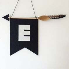 Dark Tribal Feather Arrow Flag  Personalised Wall by captainandco