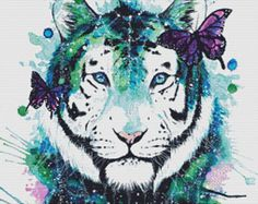 Modern Tiger Cross Stitch Kit, Scandy Girl Art, Galaxy Tiger, Counted Cross Stitch Kit, Counted Cross Stitch, Butterfly Cross Stitch Kit