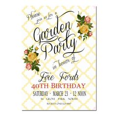garden party bridal shower invitations - Google Search