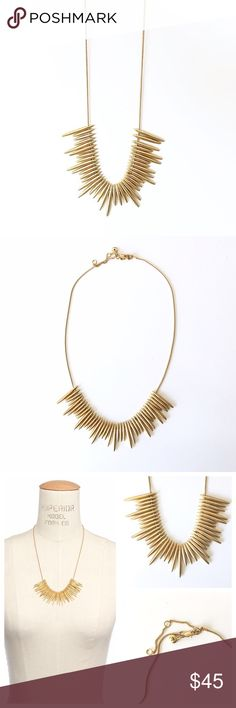 "{ Madewell } Thistle Statement Necklace A modern play on fringe, this is a beautiful sleek and playful necklace! Metal quills look a lot like a sunburst. Beautiful for layering! New, never worn.  -Length 21"" -Hook closure -Brass material  -Photos taken by me (modeled photo form Internet) Madewell Jewelry Necklaces"