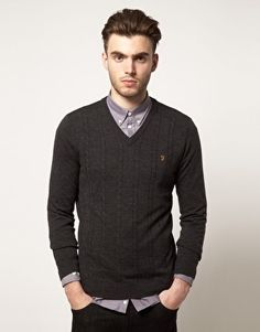 Farah Vintage - Sweater with Cable Front   The vintage line is great for anyone who likes fitted clothes that look like contemporary mod. #farahvintage #mens