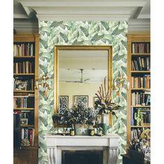 Banano by Coordonne - White - Wallpaper : Wallpaper Direct Wallpaper Direct, White Wallpaper, Wallpaper Roll, Wallpaper Fireplace, Chimney Breast, Botanical Wallpaper, Classic House, Home Decor Trends, Designer Wallpaper