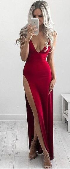 Simple Sexy Prom Dress Hot Red Prom Dresses Deep V-neck High Split Long Prom Gown