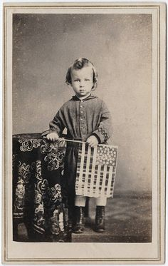 +~+~ Antique Photograph ~+~+  Sweet child holding an American Flag.