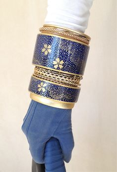 Dark blue stacking bangles by Chauci Charvet