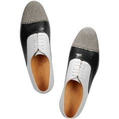 Dieppa Restrepo Joe leather brogues (690 RON) ❤ liked on Polyvore featuring shoes, oxfords, flats, leather brogues, leather oxford shoes, flat pumps, black and white flats and lace up oxfords