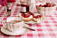 cream tea with scones, jam, and clotted cream