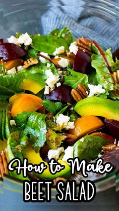 This beet salad is full of red and yellow beets, avocado, feta cheese and pecans, all tossed with greens in a homemade balsamic dressing. Great Salad Recipes, Easy Appetizer Recipes, Good Healthy Recipes, Appetizers, Homemade Balsamic Dressing, Green Bean Salads, Beet Salad, Roasted Beets