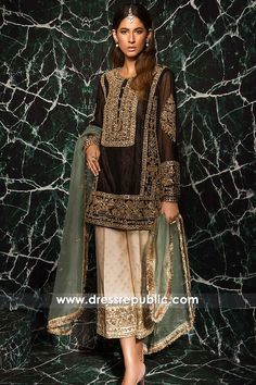 Brown Salwar Kameez Trousers Suit for Christmas in New York, USA. High quality Pakistani Fashion Dresses at Dress Republic Store. Shadi Dresses, Pakistani Formal Dresses, Pakistani Wedding Outfits, Pakistani Dress Design, Pakistani Fashion Party Wear, Latest Pakistani Fashion, Walima Dress, Indian Attire, Indian Outfits
