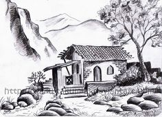 Landscape pictures for drawing and landscape drawings in pencil landscapes Landscape Sketch, Cool Art Drawings, Easy Scenery Drawing, Pencil Sketches Landscape, Pencil Drawings Easy, Drawing Scenery, Nature Drawing, Landscape Pencil Drawings, Landscape Drawing Easy