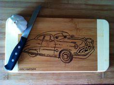 Doc Hudson Cars cutting board  by bitchNstitch2013 on Etsy