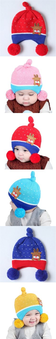 Baby Knitted Hats Children Beanie Caps Winter Earflap Warm Toddler Cap Kids Skullies Beanies Boys Cartoon Hat Cute Girls Pompom