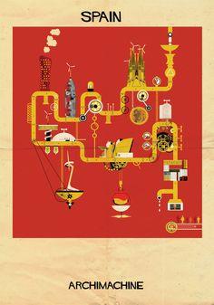 ARCHIMACHINE: 17 Países Ilustrados como Máquinas Arquitectónicas,© Federico Babina