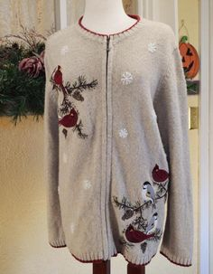 Croft Barrow Winter Holiday Birds Zip Front Sweater 1X Classic Party Jeans #CroftBarrow #FullZip