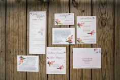 floral wedding invite with purple yarn accent #weddinginvitations http://www.weddingchicks.com/2014/01/24/true-love-texas-wedding/