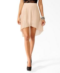 This long end skirt is the perfect length. The color also blends in very well with the length of the skirt.  Accordion Pleated High-Low Skirt   FOREVER 21 - 2021841124