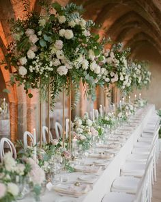 11 Stunning Greenery Wedding Ideas to Have a Budget Friendly Wedding Romantic Centerpieces, Wedding Arrangements, Wedding Table Centerpieces, Flower Centerpieces, Wedding Bouquets, Wedding Decorations, Tall Centerpiece, Wedding Ideas, Floral Wedding