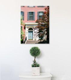 boston door photograph, robins egg aqua blue wooden door back bay brownstone…