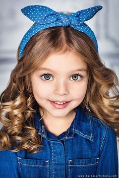 Precious Child ~ Girls, Denim, Polka Dot Bows...