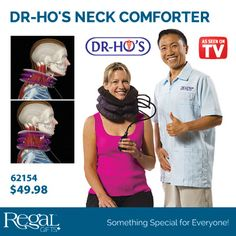 "DR-HO'S NECK COMFORTER from Regal Gifts A comfortable, easy-to-use cervical traction device. Designed to allow you to control the traction level you want in response to your pain level. Use as a travel pillow or to stretch and relax neck muscles. The Air Lock Bead allows you to decide if you want to use just two or all three air bladders of the Neck Comforter. Use it on the go or in the comfort of your own home. 12""W, expands up to 7""H Product Number: 62154 http://www.Regal.ca"