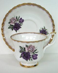Purple Teacup Purple Rose Teacup Royal Imperial Tea Cup Collection Tea Service MicheleACaron on Etsy, $28.00