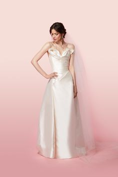 Vivienne Westwood Made-To-Order Long Trinket Dress In Ivory Silk Zibeline