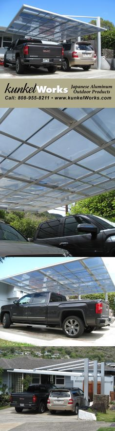 KWC Double car port with posts on only one side creates an extremely long cantilever. Covert your garage and let KWC cover your cars! https://kunkelworks.com/carports/