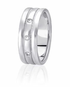 Three Flush Set Diamonds Are Accented By Coin Edge Inlay In This Wedding Band With High Polished Edges & Center
