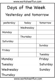 today is yesterday was work sheet for kids - Google Search