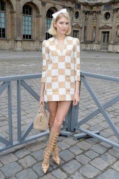 Elena Perminova wearing Louis Vuitton to Paris Fashion Week 2010