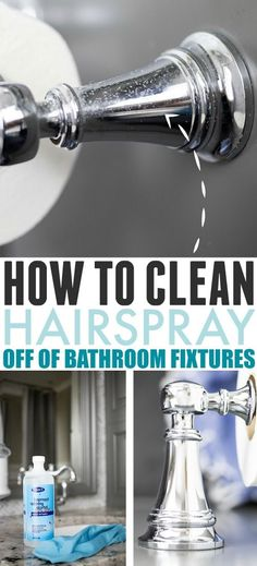Hairspray can build up on surfaces in the bathroom over time and make them look corroded and dull. Here's how to clean hairspray off of bathroom fixtures! House Cleaning Tips, Diy Cleaning Products, Deep Cleaning, Cleaning Hacks, Cleaning Supplies, Bathroom Light Fixtures, Pendant Light Fixtures, Bathroom Faucets, Bathrooms