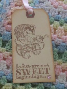 Vintage Hand Made Baby Shower Gift Tags Wish by RubysPlaceInTime, $12.00