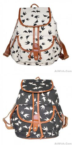 d5ab948613 Gentlewoman Style Swallow Printed Canvas Leisure Backpacks Rucksack only   31.99 -AtWish.com