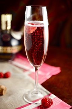 Champagne & Chambord. Drinking this now, and oh so tasty. <3