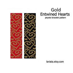 Gold Entwined Hearts - Peyote Bracelet Pattern - INSTANT DOWNLOAD