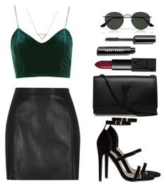 """Night Out"" by eduardacardoso1999 ❤ liked on Polyvore featuring Topshop, River Island, Yves Saint Laurent, Banana Republic, NARS Cosmetics and Ray-Ban"