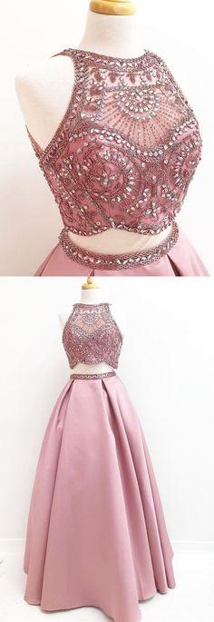 two piece blush pink long prom dress, gorgeous beaded long prom dress, party dress P3122 #partydress